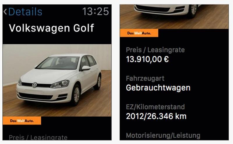VW Gebrauchtwagen App für die Apple Watch