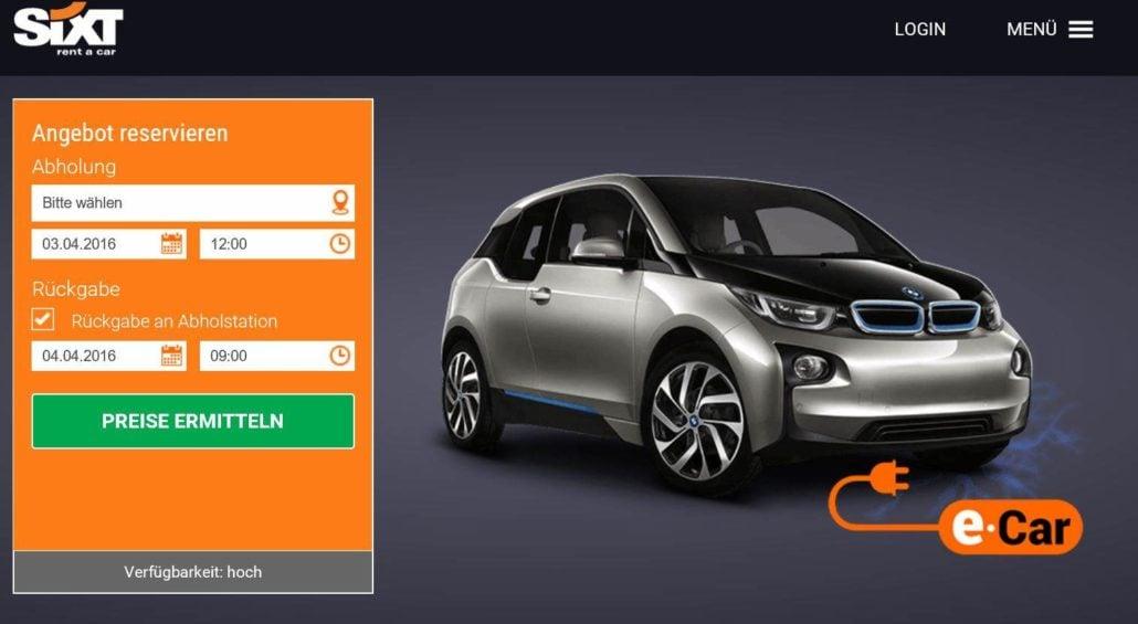 Elektromobilität bei Sixt