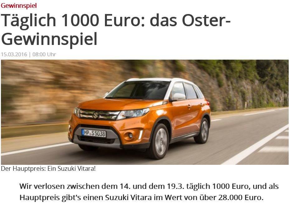 WAZ Oster-Gewinspiel Suzuki Vitara zu gewinnen