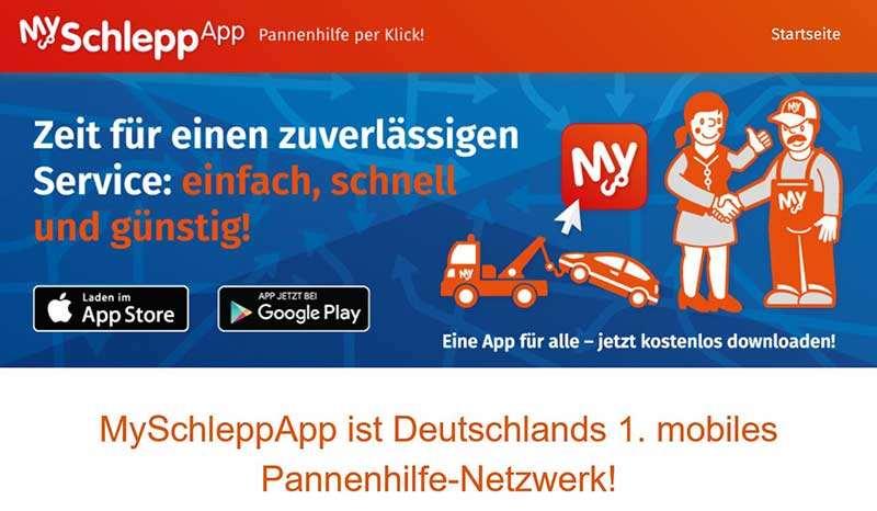 Myschlepp App - Pannerservice für die Tasche